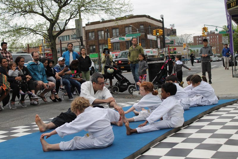 Youth Aikido demonstration warmups at 2018 Church Ave Street fair in Brooklyn, NY